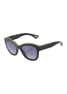 Lanvin Oversized Round Acetate Chain-Trim Sunglasses