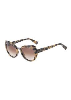 Lanvin Oversized Round Havana Acetate Sunglasses