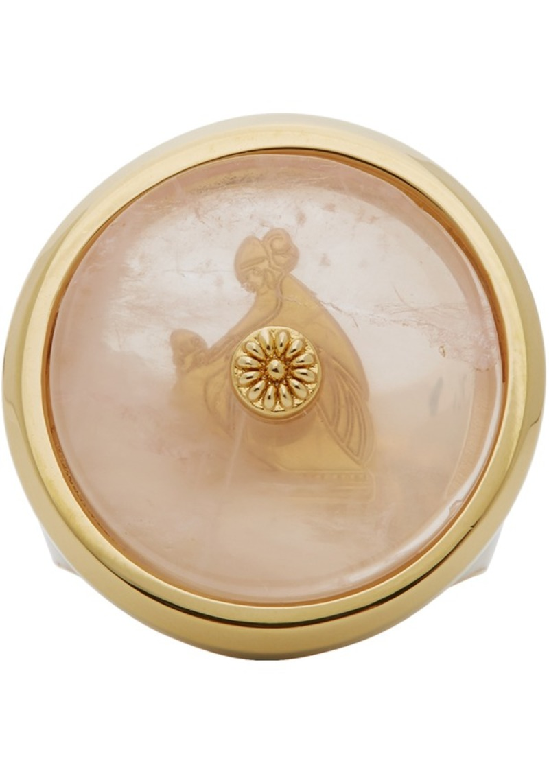 Lanvin Pink & Gold Enamel Quartz Signet Ring