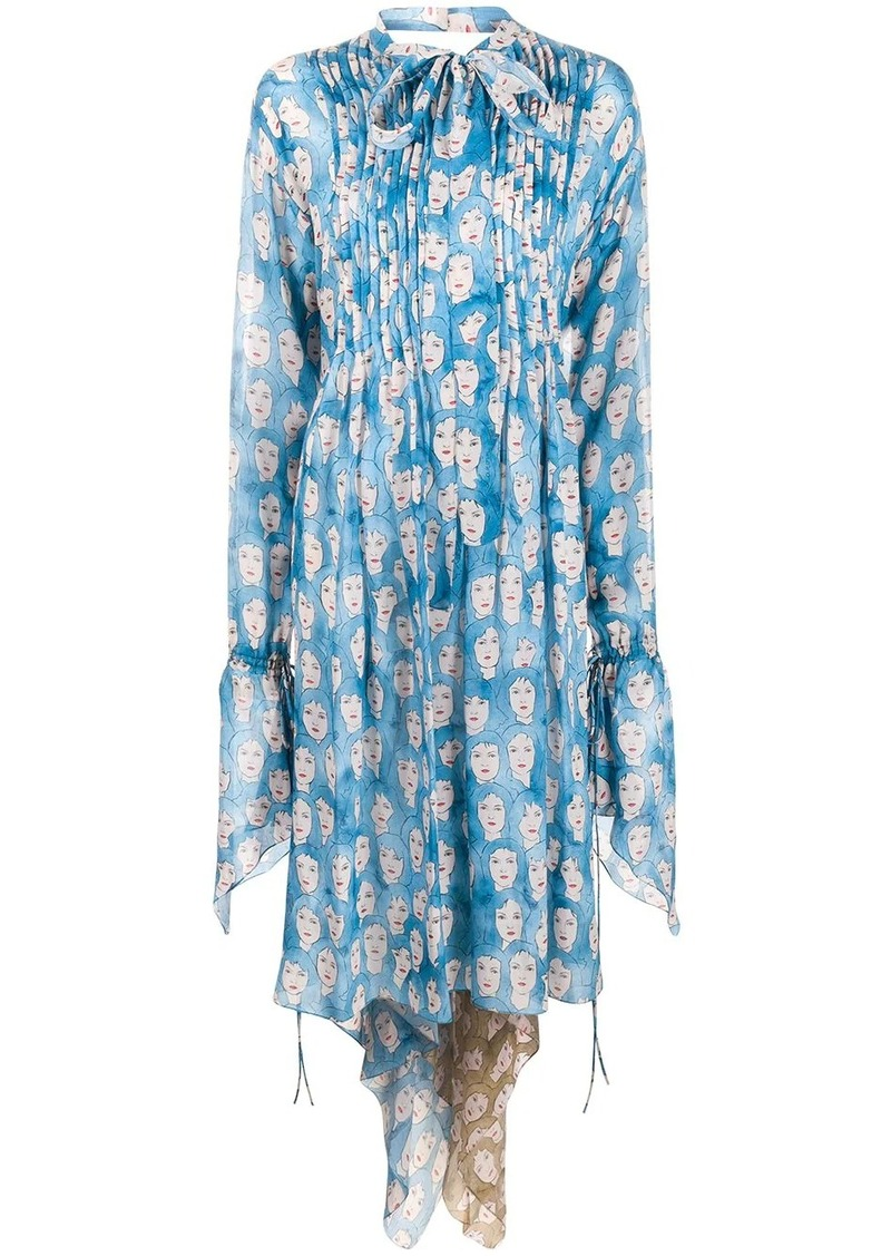 Lanvin printed tie-neck dress