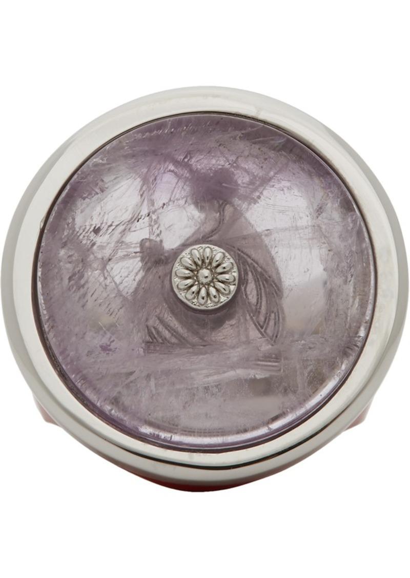 Lanvin Purple & Silver Enamel Amethyste Signet Ring