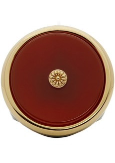 Lanvin Red & Gold Enamel Agathe Signet Ring