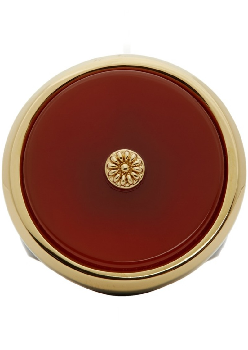 Lanvin Red & Gold Enamel Agathe Signet Ring