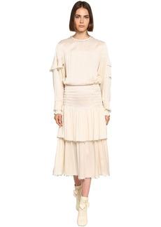 Lanvin Ruffled Satin Midi Dress