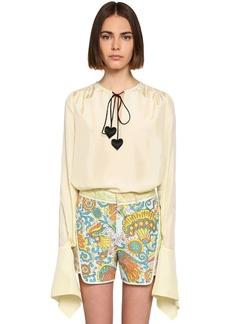 Lanvin Silk Satin Shirt W/padded Heart Details