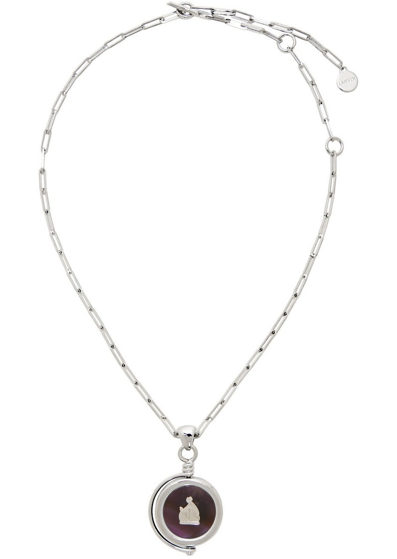 Lanvin Silver & Purple Amethyste Stone Pendant Necklace