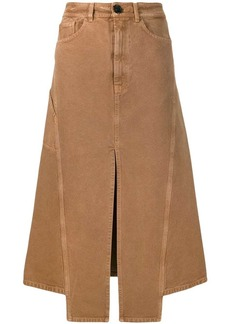 Lanvin slit midi denim skirt