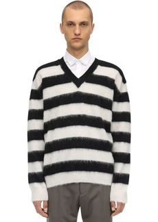 Lanvin Striped V-neck Wool Sweater