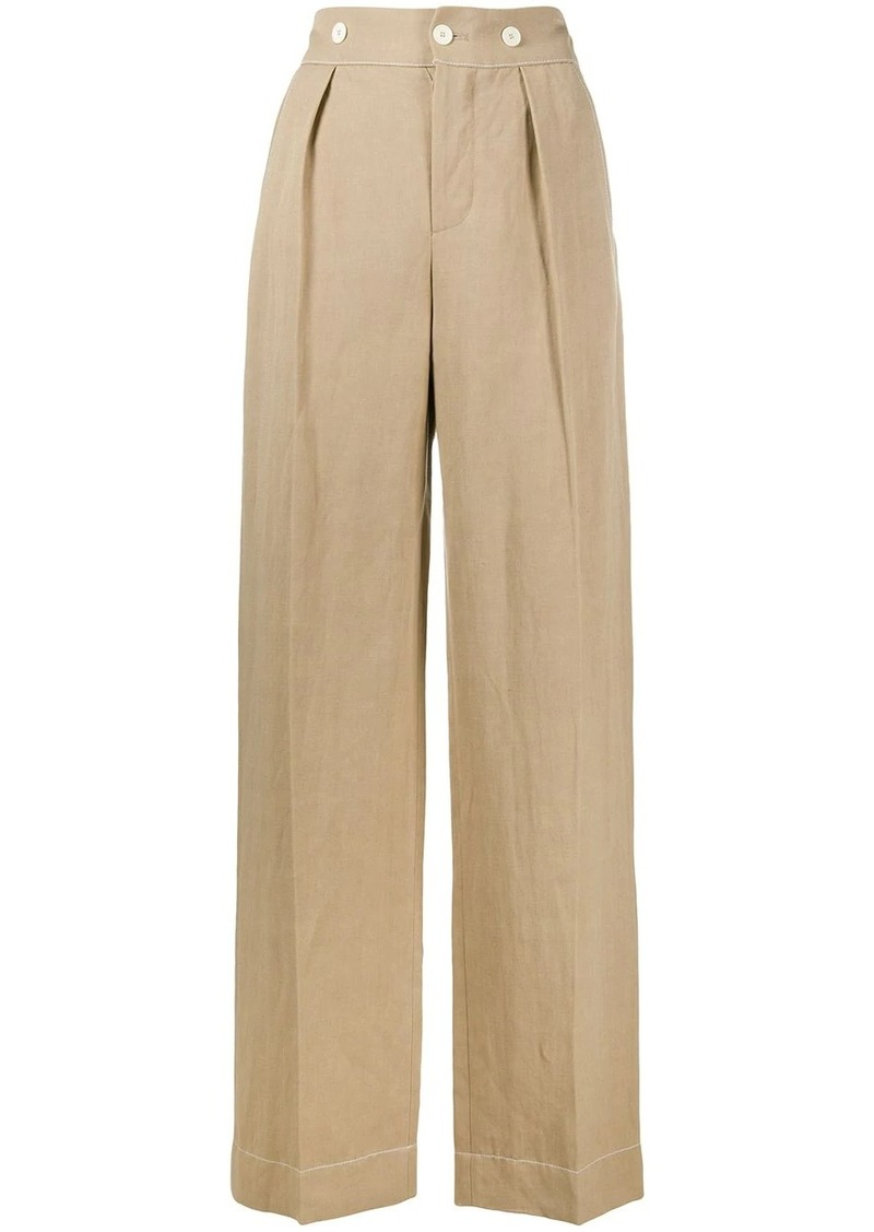 Lanvin topstitched details wide-leg trousers