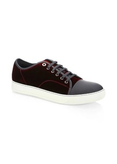 Lanvin Velvet Lace Up Sneakers