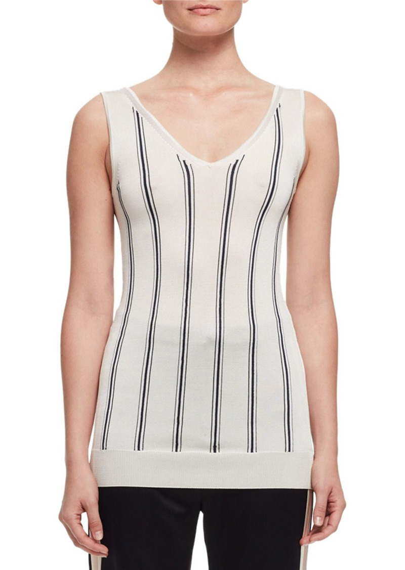 Lanvin Vertical-Stripe V-Neck Tank