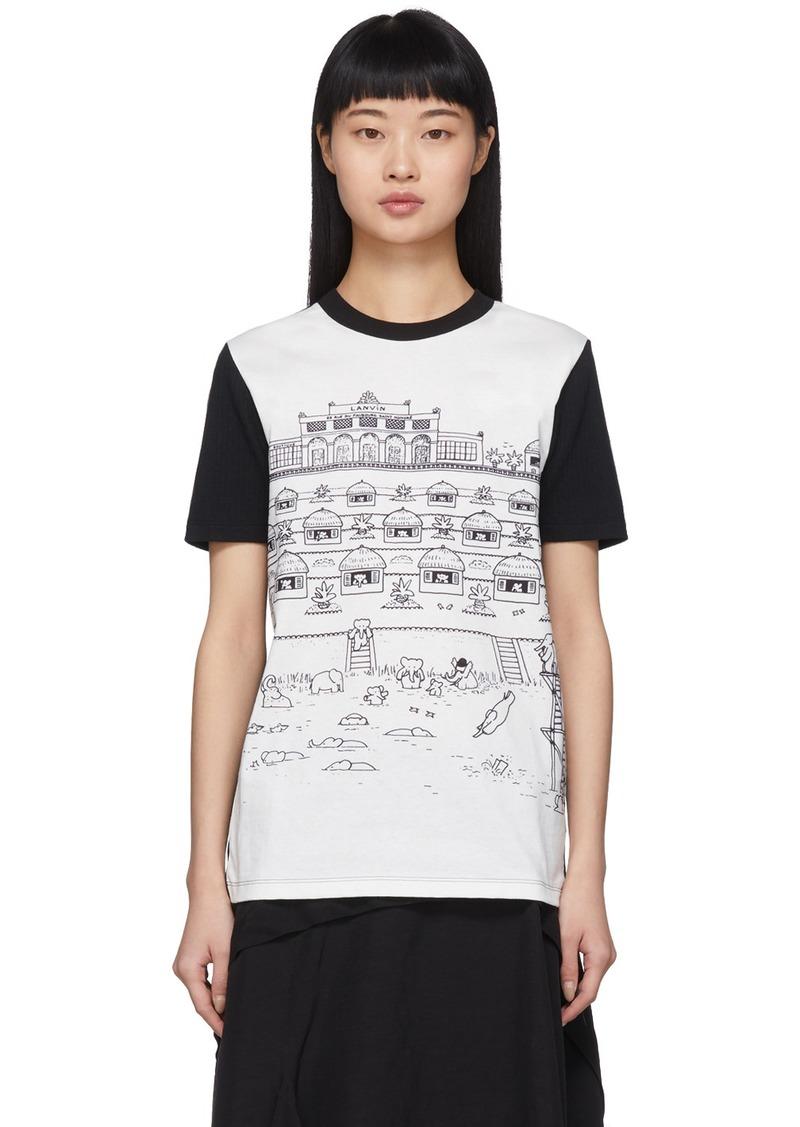 Lanvin White & Black Babar Edition Illustrated Hut T-Shirt