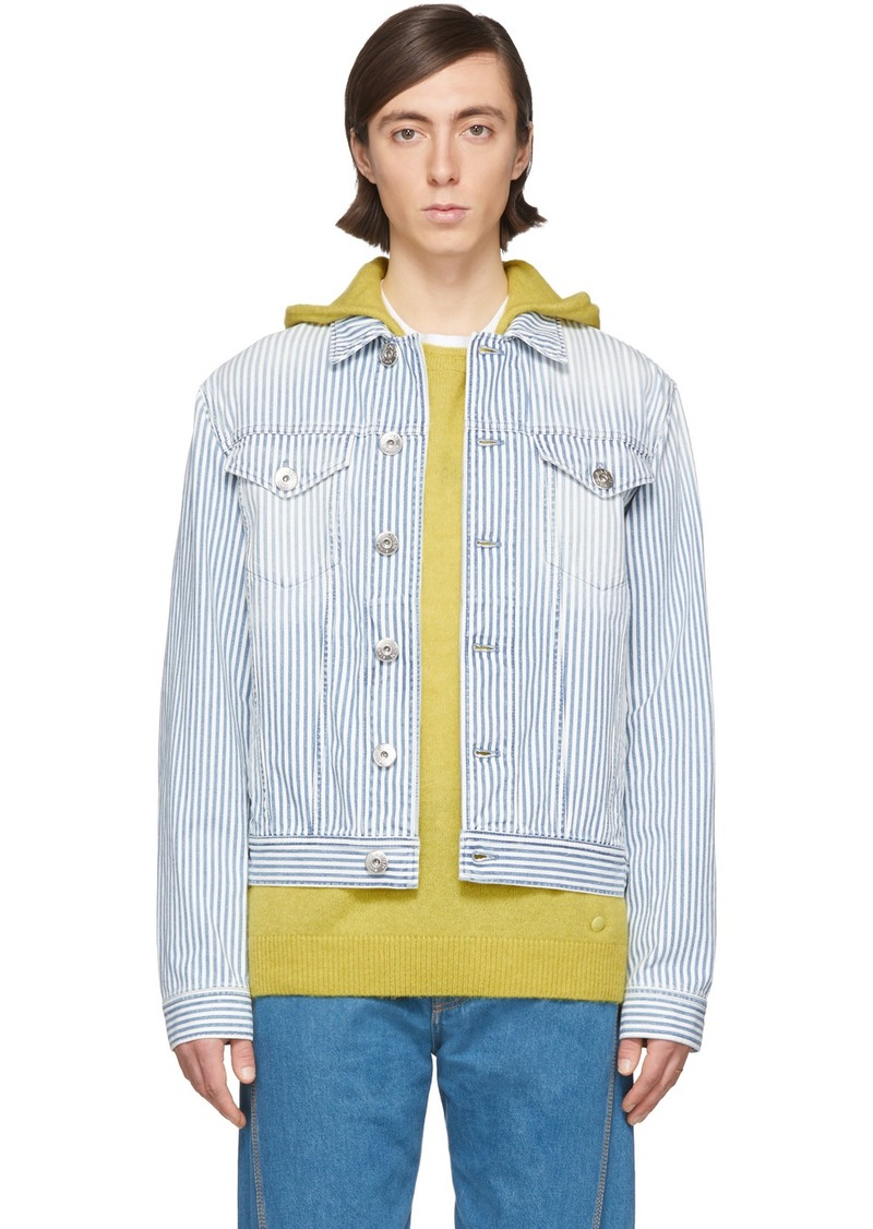 Lanvin White & Blue Striped Denim Jacket