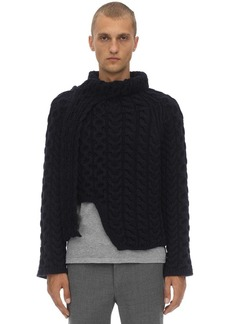 Lanvin Wool Cable Knit Sweater W/scarf