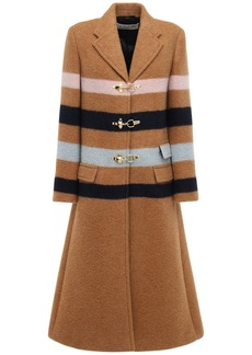 Lanvin Woven Wool Blend Coat W/ Stripes