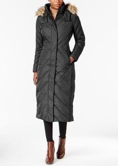 Larry Levine Faux-Fur-Trim Maxi Puffer Coat