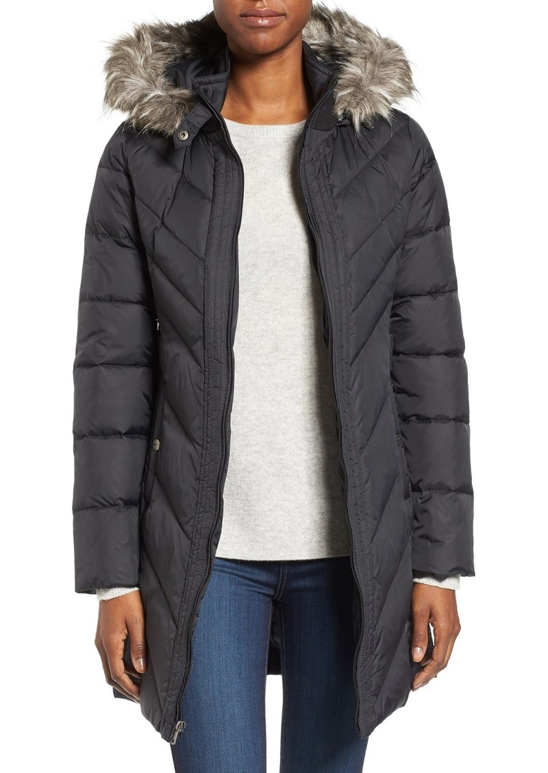Larry Levine Faux Fur Trim Hooded Jacket