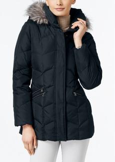 Larry Levine Faux-Fur-Trim Pillow-Collar Down Coat