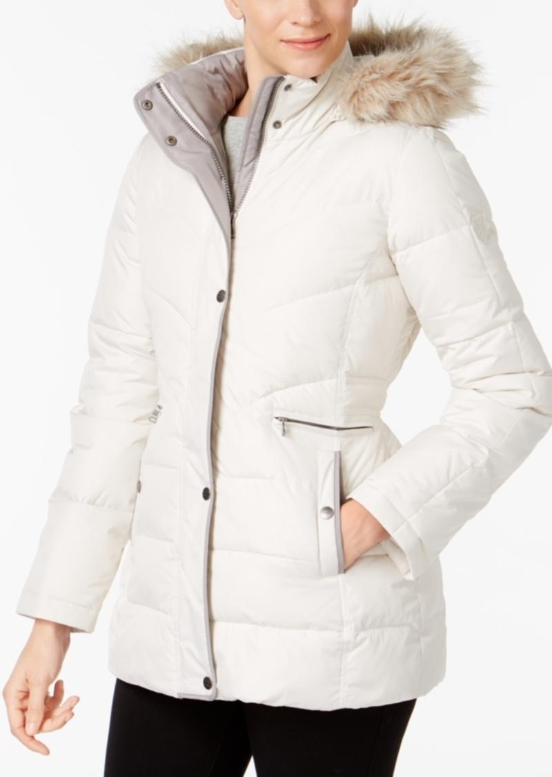 Larry Levine Faux-Fur-Trim Hooded Hooded Puffer Coat