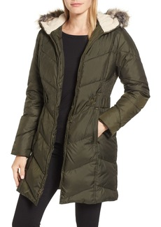 Larry Levine Hooded Down & Feather Fill Jacket with Faux Fur Trim