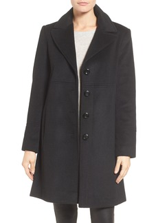Larry Levine Notch Collar Wool Blend Coat