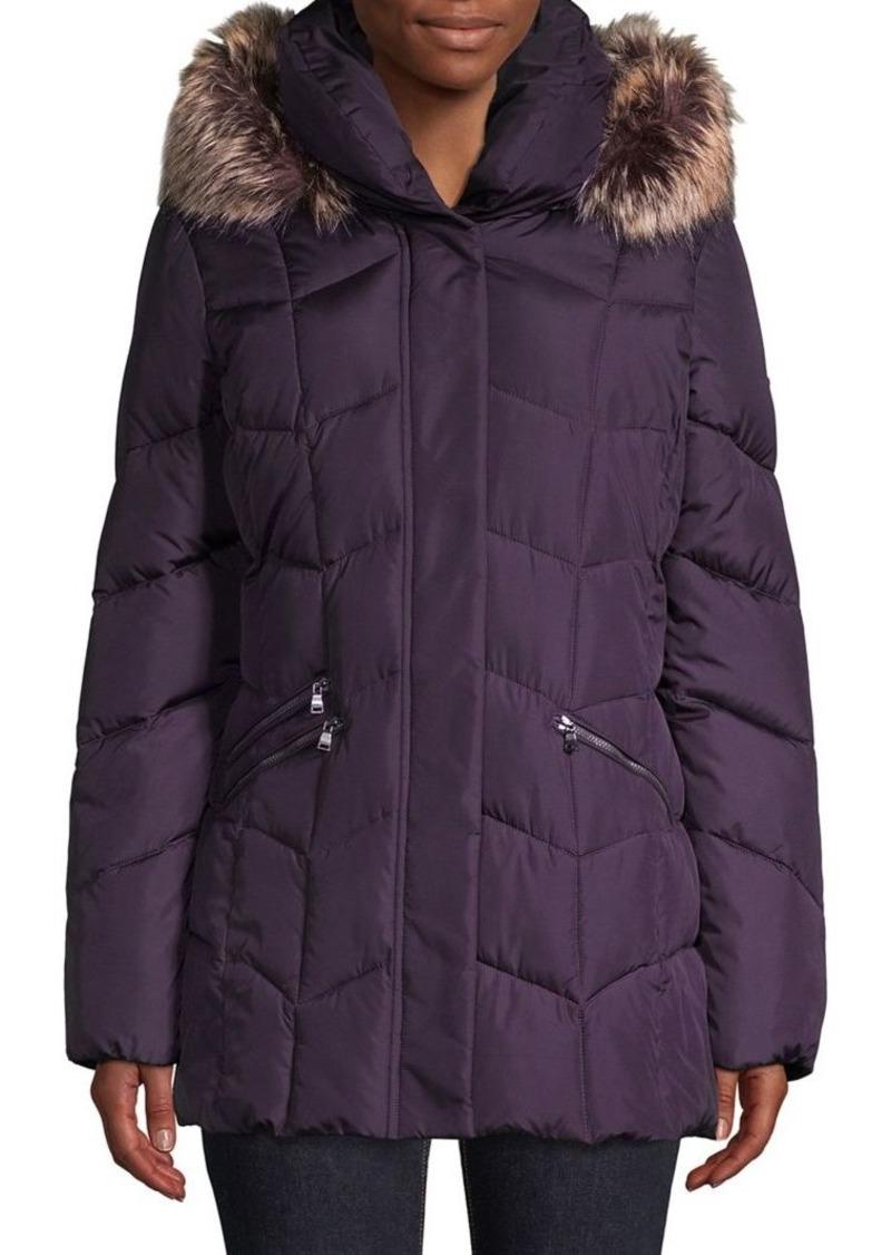 Larry Levine Quilted Faux Fur-Trim Coat