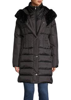 Larry Levine Quilted Faux Fur-Trimmed Coat
