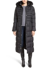 Larry Levine Quilted Maxi Coat with Faux Fur Trim