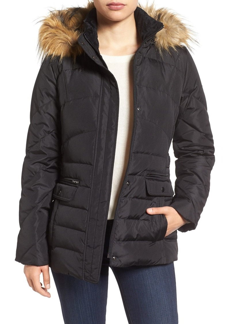 Larry Levine Water Repellent Quilted Jacket with Faux Fur Trim