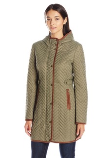 Larry Levine Women's 3/4 Hooded Weave Stitched Quilt Coat With Side Tabs  L