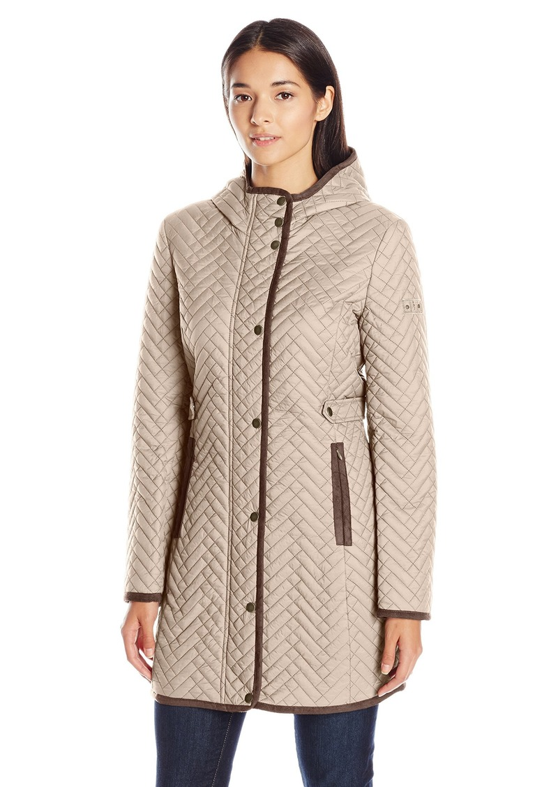 LARRY LEVINE Women's 3/4 Hooded Weave Stitched Quilt Coat with Side Tabs  M