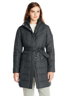 LARRY LEVINE Women's 3/4 Length Belted Down Coat