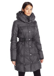 LARRY LEVINE Women's 3/4 Pillow Collar Puffer with Faux Leather Jacket Side Tabs  L