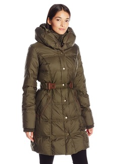LARRY LEVINE Women's 3/4 Pillow Collar Puffer with Faux Leather Jacket Side Tabs  M
