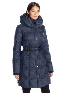 Larry Levine Women's 3/4 Pillow Collar Puffer with Faux Leather Jacket Side Tabs  XS