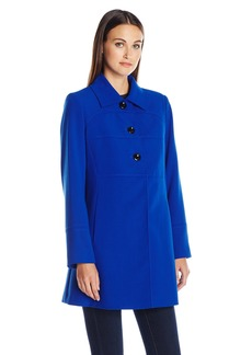 LARRY LEVINE Women's Crepe Walker 3/4 Length Large Button Lightweight Coat  M