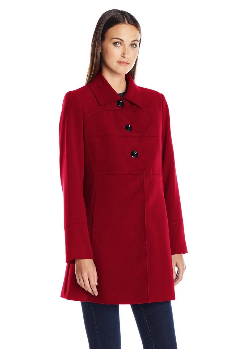 LARRY LEVINE Women's Crepe Walker 3/4 Length Large Button Lightweight Coat  XL
