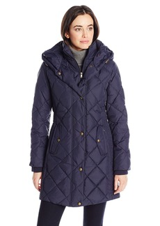LARRY LEVINE Women's Diamond Quilted Down Coat With Hood