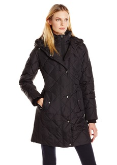 Larry Levine Women's Diamond Quilted Down Coat with Hood  X-Small