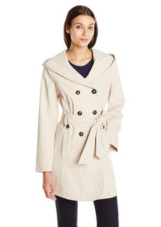 Larry Levine Women's Double Breasted Hooded Trench Coat