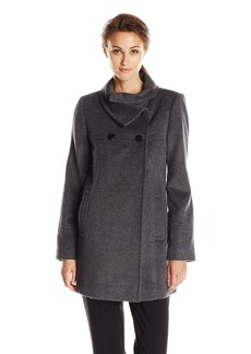 LARRY LEVINE Women's Double-Breasted Plush Coat