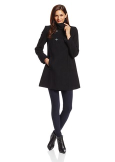Larry Levine Women's Double-Breasted Plush Wool-Blend Coat