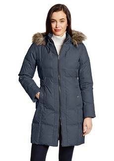 LARRY LEVINE Women's Flattering Long Down Filled Coat with Faux Fur Trim Hood