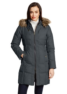 Larry Levine Women's Flattering Long Down Filled Coat with Faux Fur Trim Hood  edium