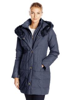 LARRY LEVINE Women's Hooded 3/4 Length Down Filled Coat  Medium