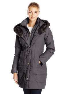 Larry Levine Women's Hooded 3/4 Length Down Filled Coat  Small