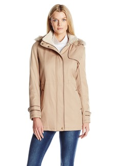 Larry Levine Women's Hooded Parka Anorack with Sherpa  M