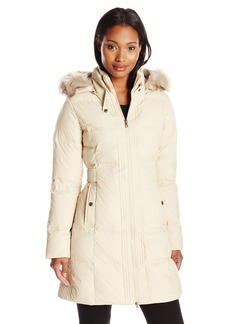 Larry Levine Women's Hooded Three-Quarter Length Down Coat with Side Tabs