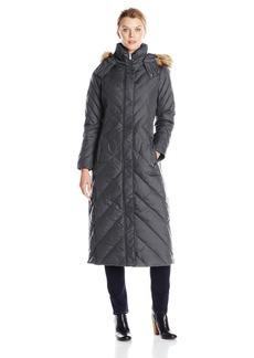 Larry Levine Women's Long axi Down Coat with Hood  edium
