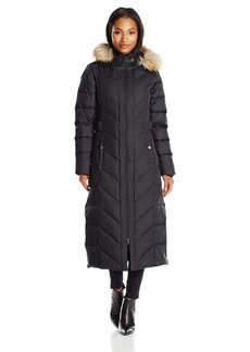 Larry Levine Women's Long Maxi Down Coat with Side Tabs and Hood